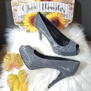 Nine West Shoes | Silverpewter Glitter Heels |